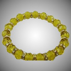Yellow Glass Expansion Bracelet with Rhinestone Rondelles