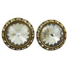Brilliant Clear Rivoli Rhinestone Earrings