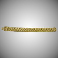 DeCesare Italy 18K Gold Plated Herringbone Bracelet