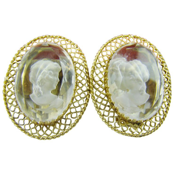 Whiting Davis Clear Intaglio Earrings