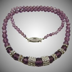 Art Deco Amethyst Colored Glass Bead and Rhinestone Necklace