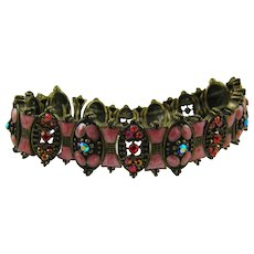 Victorian Style Expansion Bracelet in Ruby Rhinestones and Pink Enamel