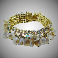 Kramer Clam Broth Bead and Champagne Rhinestone Cha Cha Evening Bracelet