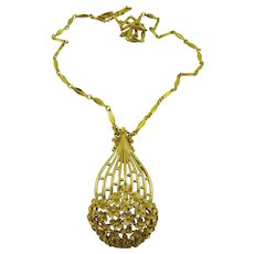 Monet Gold Tone Necklace and Pendant