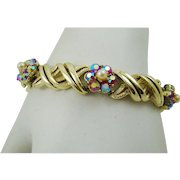 Coro Gold Tone Bracelet with Red Aurora Borealis and Imitation Pearls