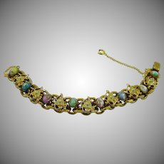 Stunning Multi Colored Turquoise Cabochons Gold Plated Doubled Bracelet