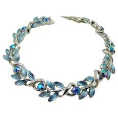 Mint Coro Blue Enamel and Rhinestone Bracelet