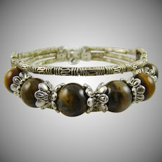 Tiger's Eye and Silvertone Western Style Bracelet
