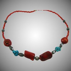 Santa Domingo Coral and Turquoise Necklace