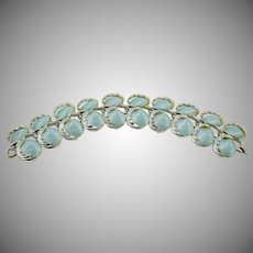 Rhodium Plated Bracelet with Baby Blue Shells