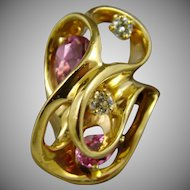 14Kt Gold Ring with Diamonds and Pink Tourmalines Size 5 3/4
