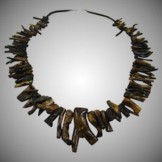 Rare Matinee Length Polished Ocean Black Coral Necklace