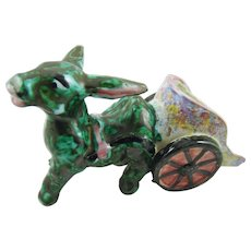 Old Italian Majolica Pottery Donkey with Cart