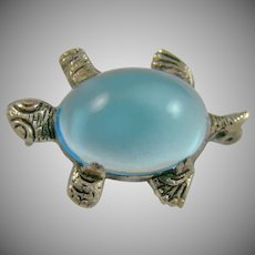 Figural Blue Lucite Turtle Brooch