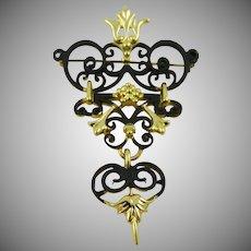 American Jewelry Company Three Tiered Dangle Brooch