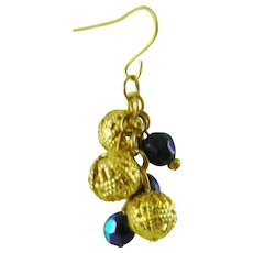 Hematite and Gold Tone Filigree Bead Earrings