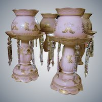 Japanese Ardalt Hand Painted Pink Lustre Lamps