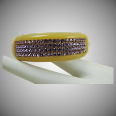 Cream Lucite Bangle with Amethyst Colored Swarovski Crystals