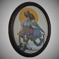 """Norman Rockwell """"Gazing At The Moon"""" Framed Print"""