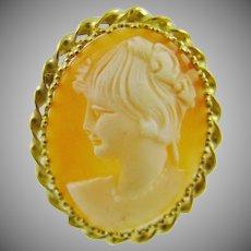 14Kt Gold Shell Cameo ~ Roman Goddess