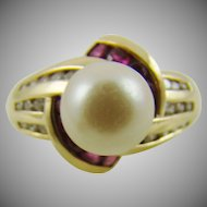 10K Gold Pearl, Ruby and Diamond Ring