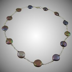 Sterling Silver and Black Peacock Cultured Coin Pearl Necklace