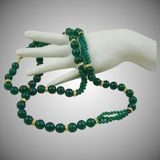 Emerald Green Quartz and Rhinestone Necklace