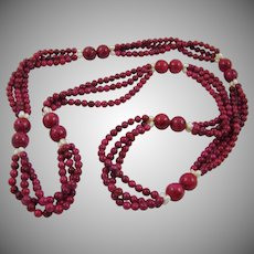 Cranberry Jasper and Cultured Pearl Necklace