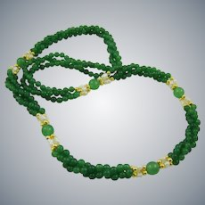 Green Quartz and Cultured Pearl Necklace