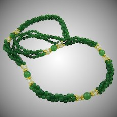 Green Quartz and Cultured Pearl Necklace
