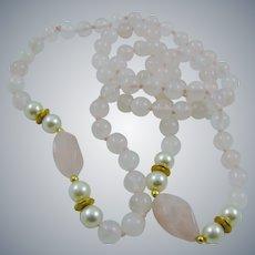 Rose Quartz and Faux Pearl Necklace