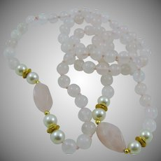 Rose Quartz and Faux Pearl Necklace