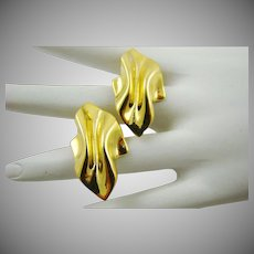 Polished Pinch Pleated Gold Tone Earrings