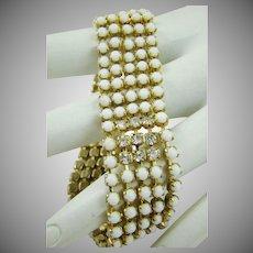 Art Deco Milk Glass and Rhinestone Bracelet