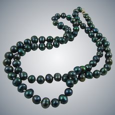 Stunning Peacock Cultured Bead Necklace and Sterling Clasp