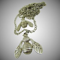 Double Chain Double Bee Silver Tone Necklace