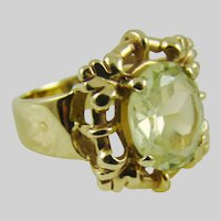 14Kt Gold:Peridot Colored Stone:Size 5 3/4