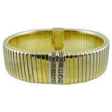 Monet Gold Tone Expansion Bracelet with Rhinestones