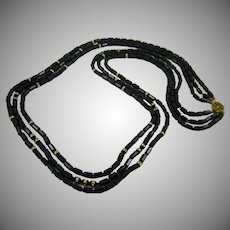 Miriam Haskell Stunning Black Glass Bead Necklace