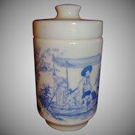 Milk Glass Jar or Box Made in Belgium ~ Oriental Motif