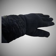 Warm Black Knit Gloves with Faux Fur Cuff