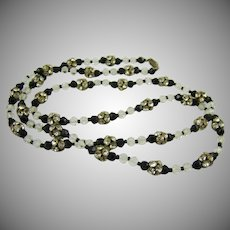 Art Deco Black Glass and Crystal Necklace