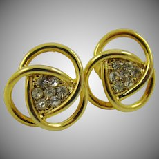 Rhinestone and Gold Tone Earrings
