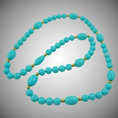 Turquoise Colored Lucite Necklace