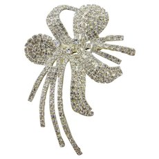 Large Exquisite Pave` Rhinestone Orchid Brooch