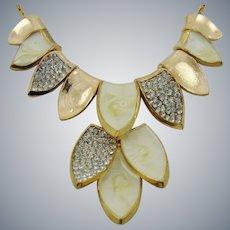 Faux Rose Gold Rhinestone and Enamel Slide Leaf Necklace