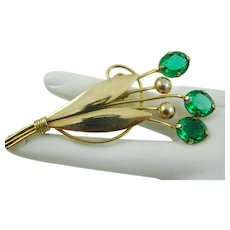 Art Deco 1/20th 12Kt Gold Emerald Green Glass Stones Brooch