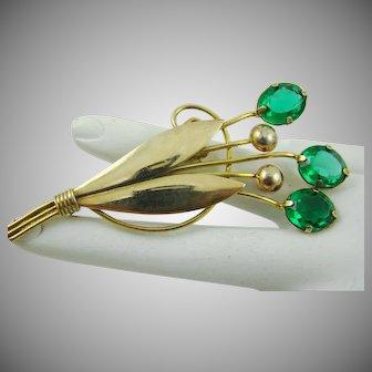 Art Deco 1/20th 12Kt Gold Emerald Green Glass Stones Brooch