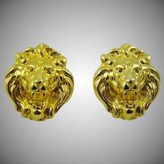 Polished Gold Tone Lion Head Earrings Post