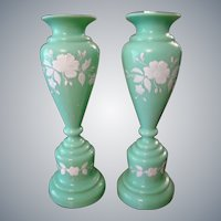 Bristol Glass Vases in Jadeite Color Glass